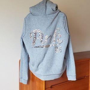 bedazzled Victoria's Secret PINK hoodie Sz L